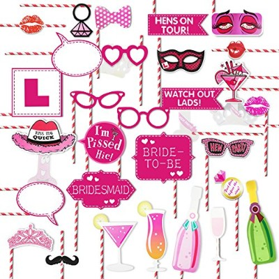 Bachelorette Party Paper Straws写真ブース小道具キットGirls Night OutゲームHen Party Supplies DecorationドレスUpのアクセサリ...