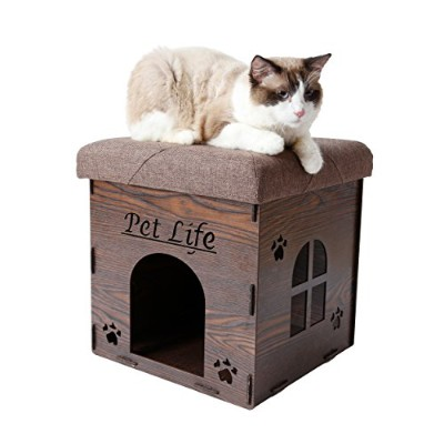 PET LIFE 'Kitty Kallapse' Collapsible Folding Kitty Cat House Tree Bed Ottoman Bench Furniture, One...