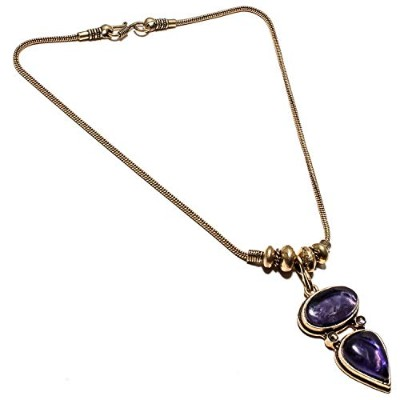 Wonderful Amethyst Sage Gemstone Necklace Handmade Gold Plated Brass Jewelry -Indian Necklace - (SF...