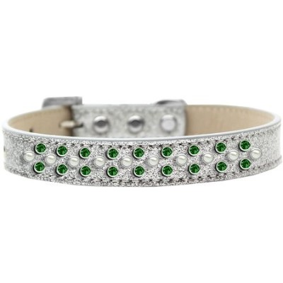 Sprinkles Ice Cream Dog Collar Pearl and Emerald Green Crystals Size 20 Silver