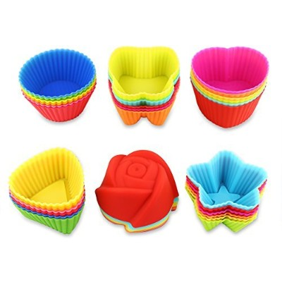 36 Pcs Reusable Silicone Baking Cups, Cupcake Liners, Muffin Cups, 6 Shapes with 6 Colours, Non...