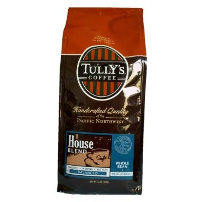 Tully's Coffee House Blend, Whole Bean, 12-Ounce Bags (Pack of 2) by Tully's Coffee