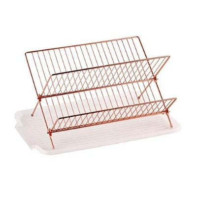 (Copper) - Deluxe Chrome-plated Steel Foldable X Shape 2-tier Shelf Small Dish Drainers with...