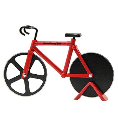 (Red) - Bicycle Pizza Cutter,Langxian Pizza Slicer Dual Stainless Steel Non-stick Cutting Wheels...