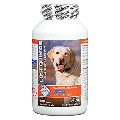 Nutramax Cosequin DS PLUS MSM Joint Health Supplement for Dogs of All Sizes - 180 Chewable Tablets 海外直送