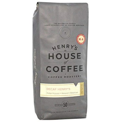 """Henry's House Of Coffee """"Decaf Henry's"""" Dark Roasted Whole Bean Coffee - 1 Pound Bag"""