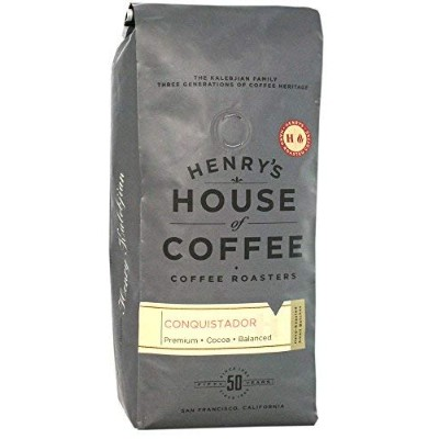 """Henry's House Of Coffee """"Conquistador"""" Dark Roasted Whole Bean Coffee - 1 Pound Bag"""