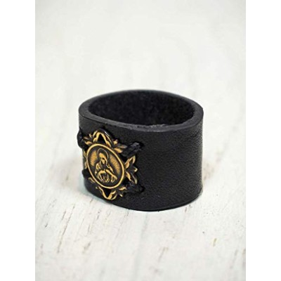 amp japan(アンプジャパン) MEDAILLE MIRACULUSE Leather Ring Type-2 レザーリング 7AN-162B (ブラック) 16号/革/マリア/メダイ/黒...