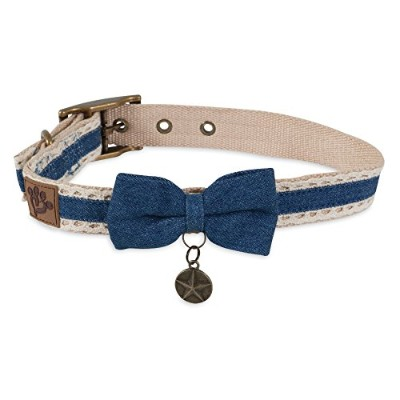 Muttnation 12500 Denim Lace & Bow Custom Fit Dog Collar, Large