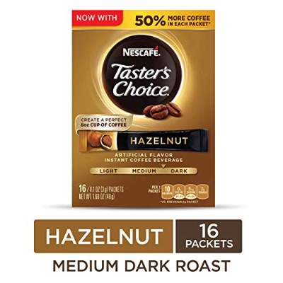 Nescafe Taster's Choice 16 Piece Hazelnut Instant Coffee Beverage Single Serve Sticks, 1.69 oz by...