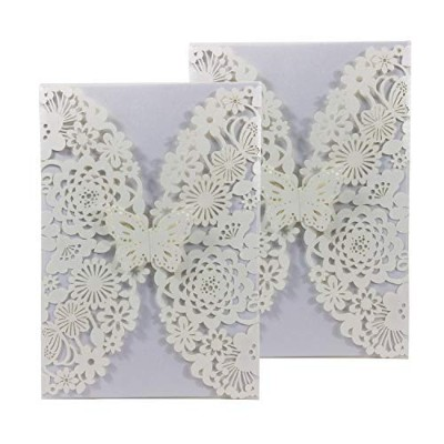 (Ivory) - 50PCS Pear Paper Laser Cut Bronzing Wedding Invitation Cards with Butterfly Hollow...