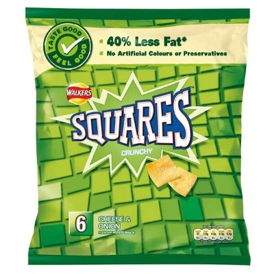 Walkers Squares - Cheese & Onion (6x25g) クラッカー チーズとオニオン( 6X25G )