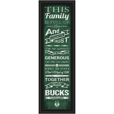 Milwaukee Bucks Crackle Family Cheer Framed Art ユニセックス