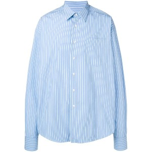 Ami Paris Oversized Long Sleeve Shirt With Chest Pocket - ブルー