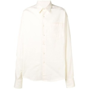 Ami Paris Oversize Long Sleeve Shirt With Chest Pocket - ホワイト