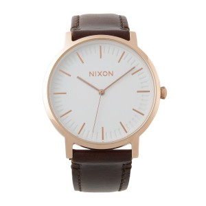 NIXON PORTER LEATHER○A1058252400 Rose gold/brown 時計