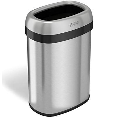 iTouchless 12 Opening Dual Deodorizer Stainless Steel Oval Open Trash Can, 13 gallon by iTouchless