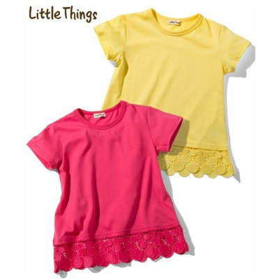 Tシャツ カットソー キッズ Little Things 裾 レース 半袖 女の子 子供服 トップス イエロー/ピンク 身長100/110/120/130cm ニッセン