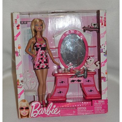 Barbie Glam! Doll & Play Set Pink Dressing Room by Barbie