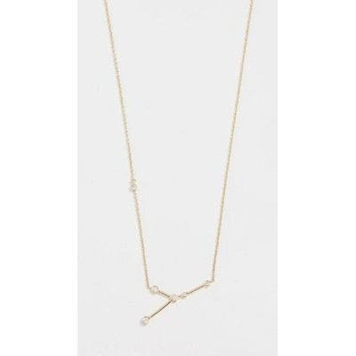 14k Gold Cancer Necklace with White Diamonds レディース