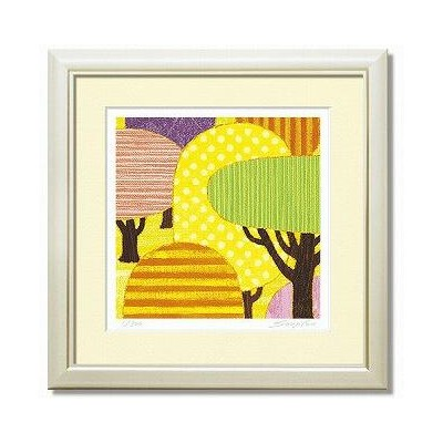 「yellow forest」藤谷壮仁郎(Soujirou)ジークレー版画作品・40角(Aシリーズ・ABSTRACT ART)(絵画通販)【壁掛けフック付き】【絵のある暮らし】