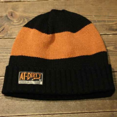 """AT-DIRTY""""TRAD BORDER WATCH CAP""""BLACK×ORANGE【AT-DIRTY】(アットダーティー)正規取扱店(Official Dealer)Cannon Ball..."""