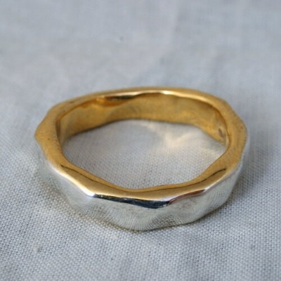 mollive CUT SILVER WITH 22K GOLD RING
