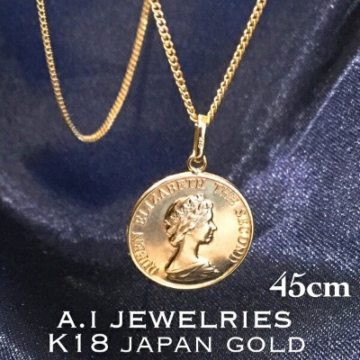 K18 18金 14mm プレスコイン 45cm 2面 喜平 チェーンネックレス メンズ レディース 兼用サイズ 2cut kihei chain necklace coin 14mm mens...