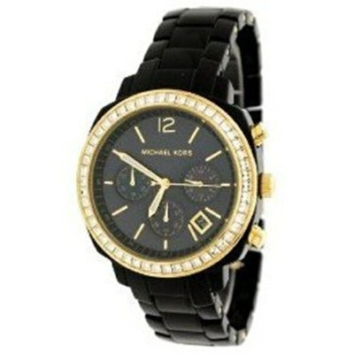 マイケルコース Michael Kors レディース 腕時計 時計 Michael Kors Black Acrylic Chronograph Ladies Watch MK5215