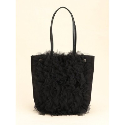 Cachellie SHEER FRILL TOTE BLACK カシェリエ バッグ トートバッグ ブラック【送料無料】