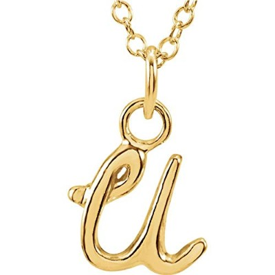 Jewels By Lux レディース 14Kイエローゴールドレター「U」の小文字スクリプトイニシャルネックレス