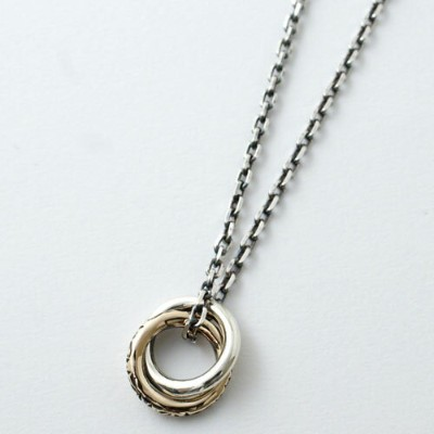 vivify ONE-MAKE ARABESQUE W-RING NECKLACE /K10-GOLD MIX LIMITED
