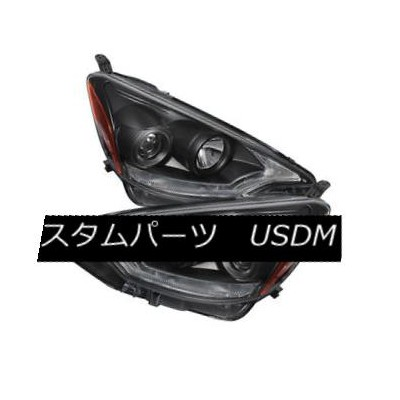 ヘッドライト Toyota 12-14 Prius C Black DRL Dual Halo LED Projector Headlights Strip Style トヨタ12...