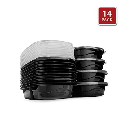 (28-Piece, 3.7 CUP, Black) - Rubbermaid 2030325 Takealongs Meal Prep Food Storage Containers with...