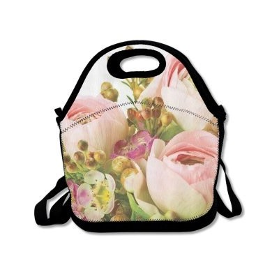 QiFan Floral Insulated Personalizedトートランチ食品バッグブラック