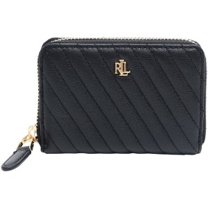 レディース LAUREN RALPH LAUREN SMALL ZIP LEATHER WALLET 財布  ブラック