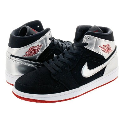 NIKE AIR JORDAN 1 MID ナイキ エア ジョーダン 1 ミッド BLACK/GYM RED/METALLIC SILVER 554724-057