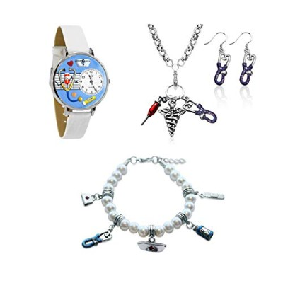 (Nurse Silver) - Whimsical Gifts Profession 4-piece Jewellery Sets