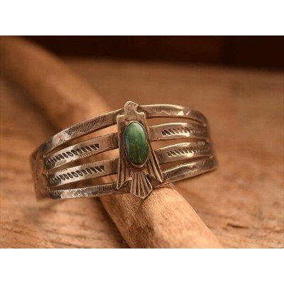 Vintage Indian Jewelry Maisel Indian Trading Post (マイセル トレーディング) サンダーバード patched バングル (Fred Harvey...