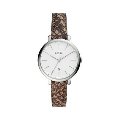 フォッシル レディース 腕時計 アクセサリー Jacqueline Stainless Steel & Python-Embossed Leather-Strap Watch Natural