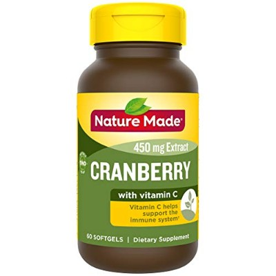 Nature Made Super Strength, Cranberry ( 450 mg Extract) with Vitamin C, 60 Softgels 海外直送品