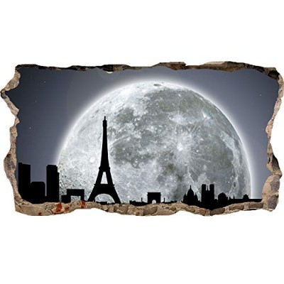 Mural Wall Art 3D - Moon for Paris Large Poster for Teens Bedroom 82 x 150 cm Urban
