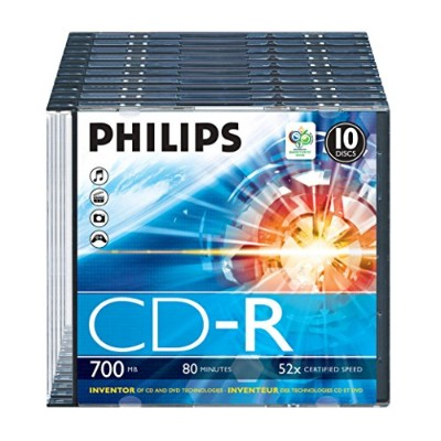 Philips CDR-80 (52x) 10pk Slim Jewel Case