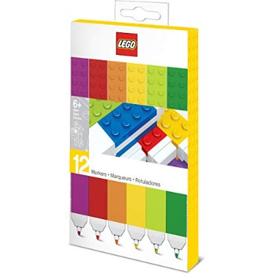 LEGO Stationery - Coloured Marker 12 Pack with 4x2 Building Bricks - Fine Point
