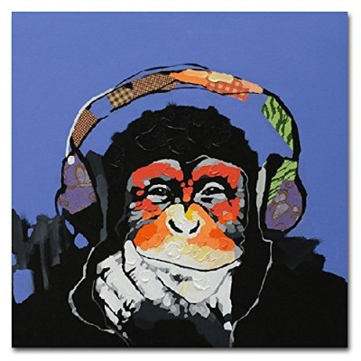 Fokenzary 100% Hand Painted Oil Painting on Canvas Pop Art Cute Gorilla Listening to Music with...