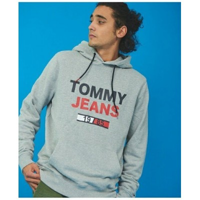 TOMMY HILFIGER (M)TOMMY HILFIGER(トミーヒルフィガー) Tommy Jeansロゴパーカー トミーヒルフィガー カットソー パーカー グレー ブラック ホワイト...