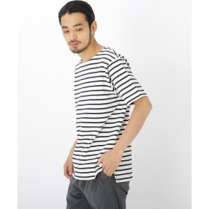【BASE CONTROL(ベースコントロール)】 ボートネック ボーダー 半袖 Tシャツ OUTLET > BASE CONTROL > トップス > Tシャツ アイボリー