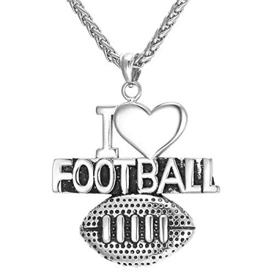 "Silver Color Stainless Steel""I Love Football"" Pendant Necklace"