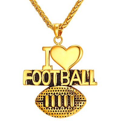 "Gold Color Stainless Steel""I Love Football"" Pendant Necklace"