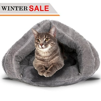 Soft Fleece Self-Warming Cat Bed Warm Sleeping Bed for Cats Winter Pets Puppy Indoor Pet Triangle...